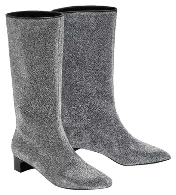 Item - Silver Glitter Heel Ankle Cc Style Boots/Booties Size US 8 Regular (M, B)