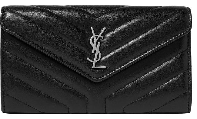 Saint Laurent Quilted Monogram Wallet Black Textured Leather Clutch Saint Laurent Quilted Monogram Wallet Black Textured Leather Clutch Image 1