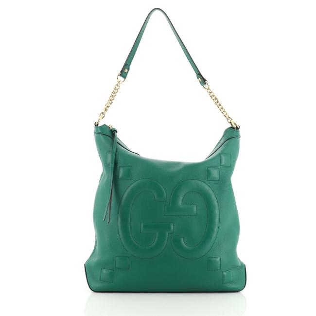Item - Chain Embossed Large Green Leather Hobo Bag