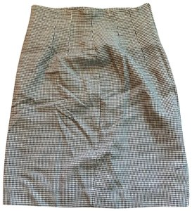 Ann Taylor Plaid Vintage Fitted Pencil Business Causal Skirt Grey