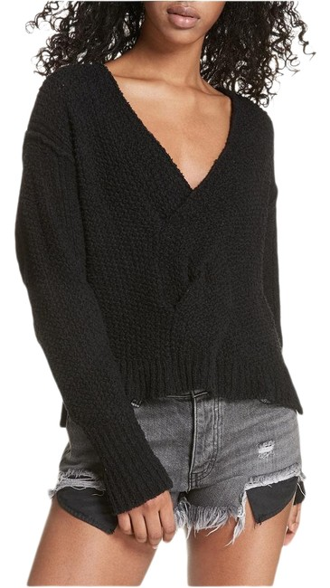 Item - Twist Cotton Front V-neck Black Sweater