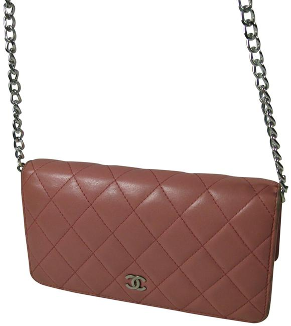 Item - Quilted Long Cc Wallet Pink Lambskin Leather Clutch