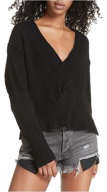 Item - Twist L Cotton Front V-neck Black Sweater