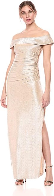 Item - Light Gold Metallic Off-the-shoulder Gown with Beading and Slit Long Formal Dress Size 16 (XL, Plus 0x)