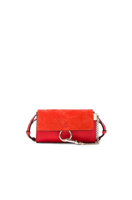 Item - Poppy Red Long Faye In Smooth and Suede Calfskin with Adjustable Strap Wallet