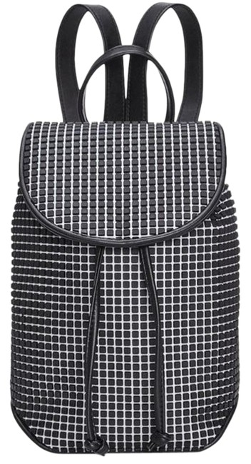 Item - Bounce Small Black/White Faux Leather/Rubber Backpack