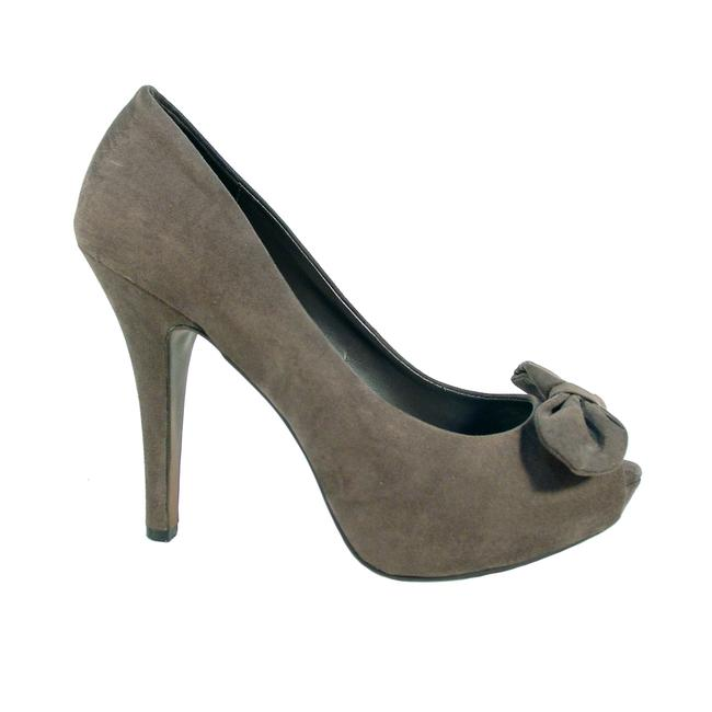 Item - Dark Taupe Suede Peep Toe Platform Bow 41/10 Pumps Size EU 41 (Approx. US 11) Narrow (Aa, N)