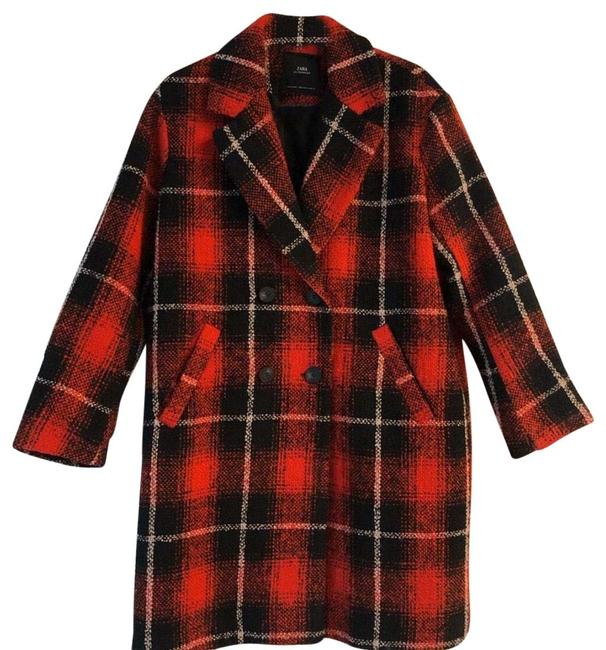 Item - Red Wool Blend Plaid Double Breasted Winter Coat Size 10 (M)