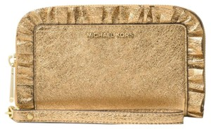 Michael Kors Leather Wristlet in Gold