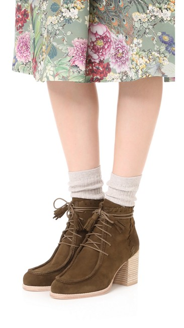 Item - Olive Suede Lace-up Ankle Boots/Booties Size US 8 Regular (M, B)