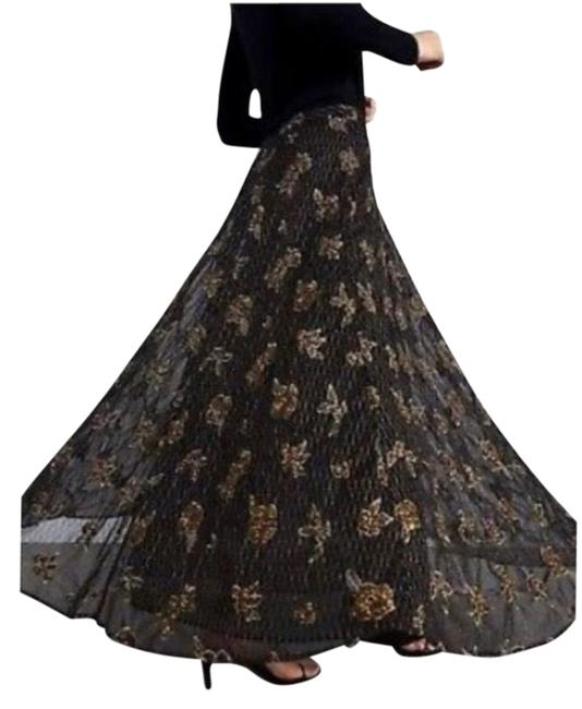 Item - Black and Gold Floral Beaded Skirt Size 6 (S, 28)