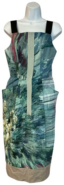 Item - Green Printed Cotton Shift Mid-length Short Casual Dress Size 8 (M)