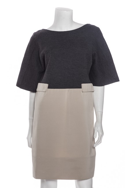 Item - Grey & Taupe Shift 42 Mid-length Work/Office Dress Size 6 (S)