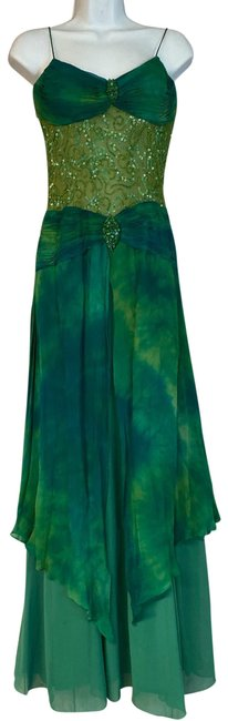 Item - Green Embellished Mesh Waist Emerald Silk Cocktail Mid-length Night Out Dress Size 6 (S)