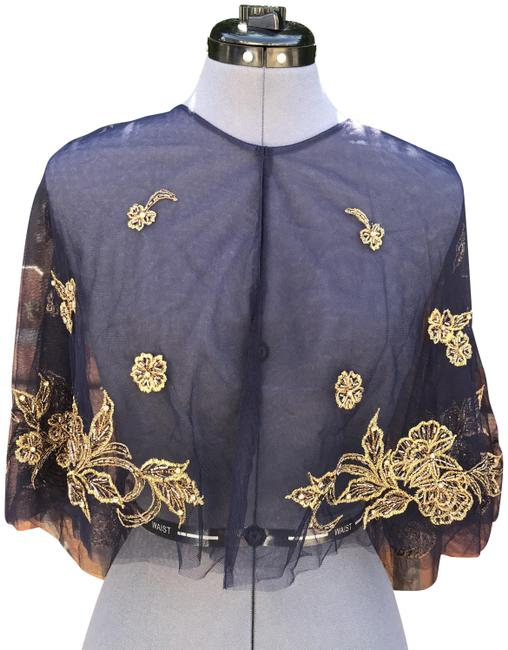 Item - Navy/Gold Embroidered Capelet Poncho/Cape Size 6 (S)