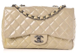 Chanel Jumbo 2.55 Crinkled Classic Flap Patent Leather Shoulder Bag