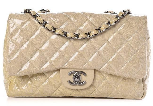 Chanel 2.55 Reissue Crossbody Classic Jumbo Single Flap Quilted Crinkled Cc Logo Beige Silver Patent Leather Shoulder Bag Chanel 2.55 Reissue Crossbody Classic Jumbo Single Flap Quilted Crinkled Cc Logo Beige Silver Patent Leather Shoulder Bag Image 1