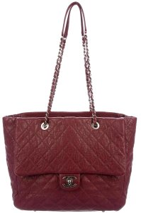 Chanel Gst Grand Shopping Cc Logo Tote in Burgundy Red Silver