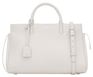 Saint Laurent Logo Leather Ysl Tote in White