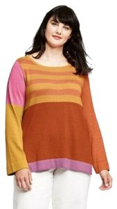 Isaac Mizrahi for Target New With Tags Plus Size Color-blocking Crewneck Side Slits Sweater
