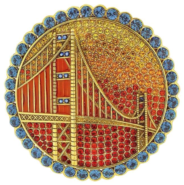 Item - Red Multi Golden Gate Glamour Lim Edition Crystal Bridge Motif Pin