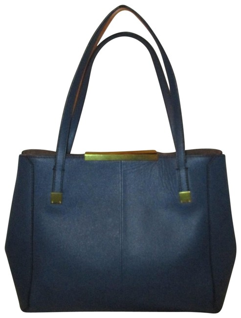 Item - Textured Tote Blue Leather Satchel