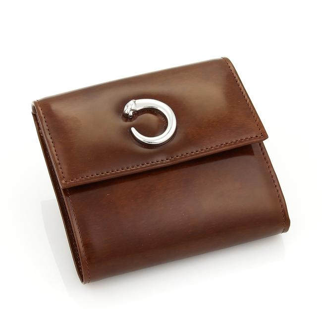 Item - 21281 Panthere C Brown Leather Bill Card & Coin Wallet