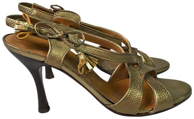 Item - Bronze Heeled Tassel Sling Back Sandals Size US 10 Regular (M, B)