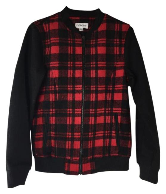 Item - Red/Black Girl Big Girls Faux Wool Plaid Bomber Jacket Size 8 (M)