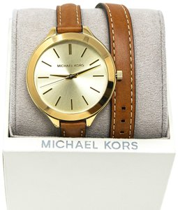 Michael Kors NEW Gold-Tone Runway Slim Watch MK2256