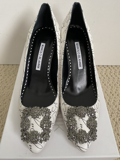 Manolo Blahnik Crystal Leather Logo White Pumps Image 1