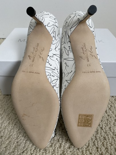 Manolo Blahnik Crystal Leather Logo White Pumps Image 10