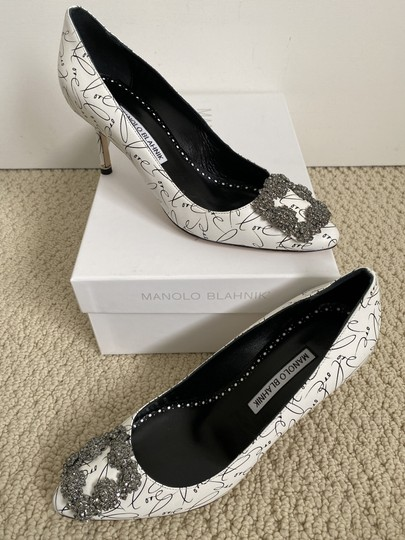 Manolo Blahnik Crystal Leather Logo White Pumps Image 4
