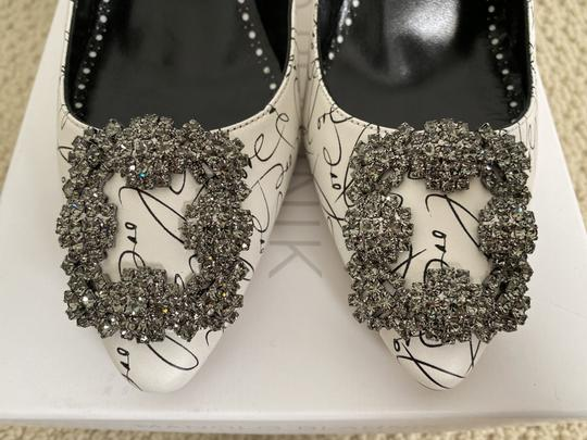 Manolo Blahnik Crystal Leather Logo White Pumps Image 6