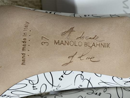 Manolo Blahnik Crystal Leather Logo White Pumps Image 9