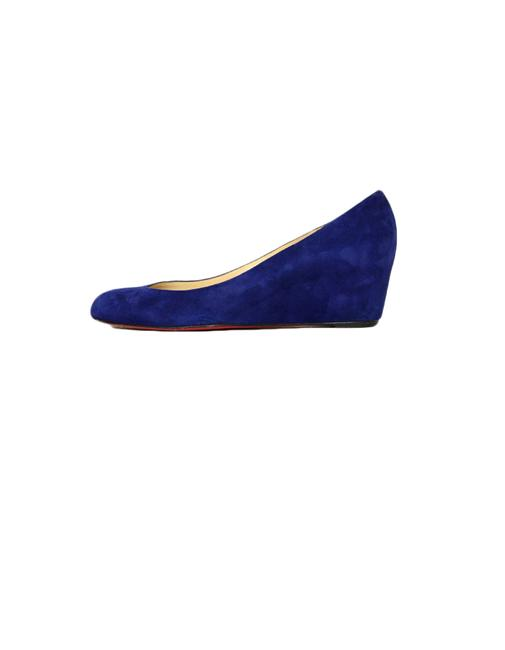 Item - Blue Suede Covered Wedges Size EU 41 (Approx. US 11) Regular (M, B)