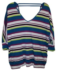 Torrid 3/4 Sleeve V-neck 1x Top Multi-Color