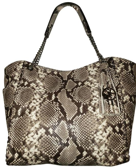 Item - Shoulder Bag Chelsea Large Whipped Braided Silver Natural Multi Python Embossed Leather Tote