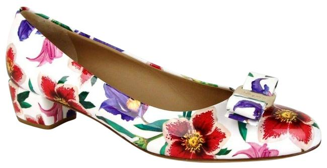Item - White Women's Vara 6 Patent Leather Floral Bow 7.5b 0688977 Pumps Size US 7.5 Regular (M, B)