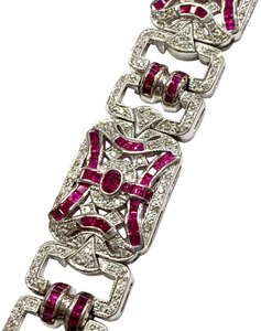 LeVian BEAUTIFUL!! VINTAGE!! LeVian 18 Karat White Gold, Ruby and Diamond Bracelet