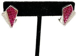LeVian BEAUTIFUL!! VINTAGE!! LeVian 18 Karat White Gold, Ruby and Diamond Earrings
