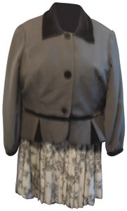 Newport News Black Velvet trimmed Jacket Grey Pleated Skirt