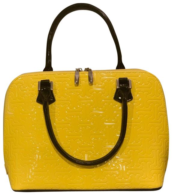 Item - Beverly Hills Luxury ~anuta Jigsaw Puzzle Design Pocketbook~size Medium Yellow/Black Calfskin Leather Satchel