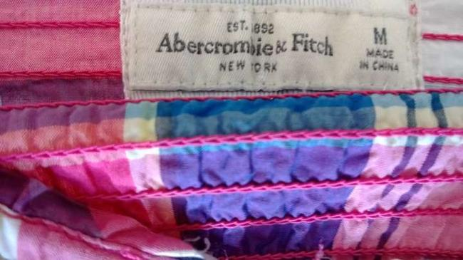 Abercrombie & Fitch Top Plaid: pink, blue, white