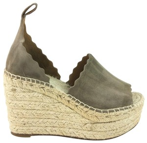 Chloé Espadrille Sandal Ankle Strap Scalloped Maple Brown Wedges