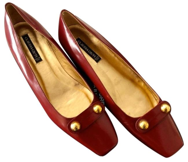 Item - Red/ Burgundy Burgundy/ Gold Patent Leather Slip-ons Flats Boots/Booties Size US 7.5 Regular (M, B)