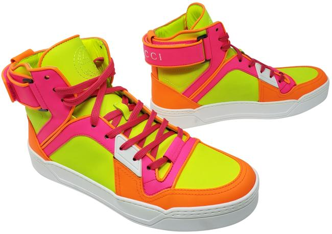 Item - Pink Lime Coated Leather Gg Logo Print High-top Sneakers Size EU 39 (Approx. US 9) Wide (C, D)