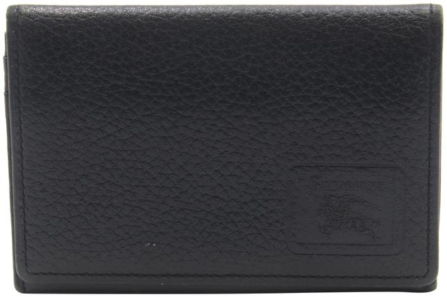 Item - Black Pebbled Leather Card Holder Flap House Check Canvas Wallet