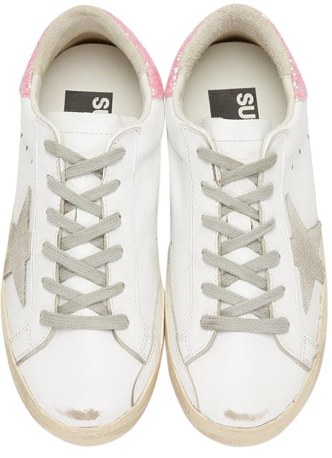 Item - Exclusive Pink Glitter with White and Vintage Yellow Sole / Gray Laces and Stars.. Superstar Distressed Sneakers Size US 7.5 Regular (M, B)