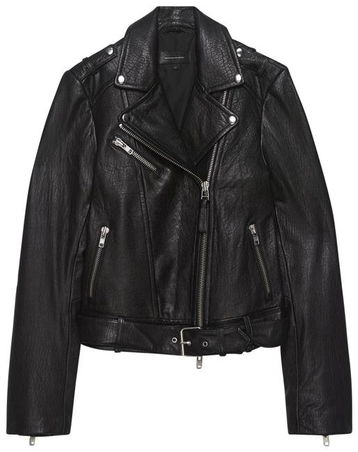 Item - Black and Silver Rumy Moto Genuine Leather Jacket Size 10 (M)